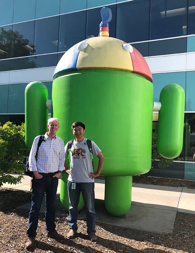 Richard Allen and Qingkai Kong at Google Android during their collaboration to build the Android Earthquake Alerts system.