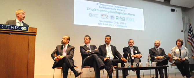 The opening session (pictured above) included (from left to right) Prof. Richard Allen, State Sen. Jerry Hill, then Lt. Gov. Gavin Newsom, then State Sen. Alex Padilla, Office of Emergency Services Director Mark Ghilarducci, San Francisco Mayor Ed Lee and USGS Acting Director Suzette Kimball.